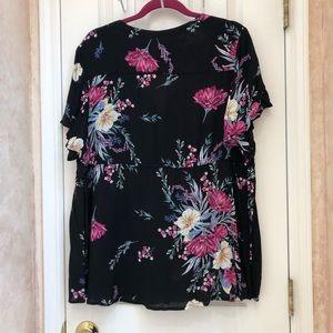 torrid Tops - Torrid Black Floral Flutter Sleeve Blouse